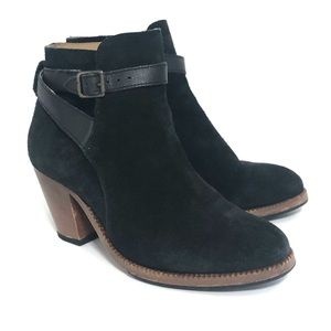 H by Hudson Black Lewknor Suede Strapped Booties